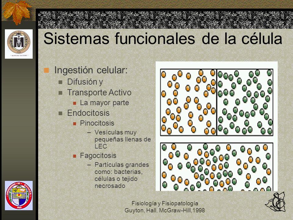 Fisiología y Fisiopatología Guyton, Hall, McGraw-Hill,1998 Sistemas funcionales de la célula Ingestión celular: Difusión y Transporte Activo La mayor