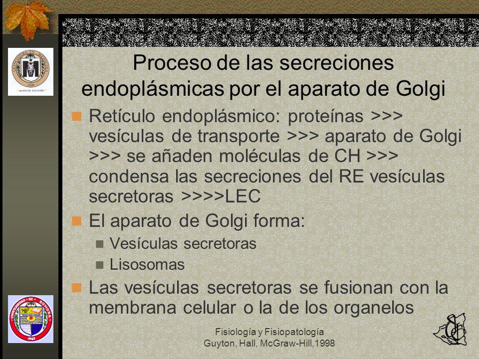 Fisiología y Fisiopatología Guyton, Hall, McGraw-Hill,1998 Proceso de las secreciones endoplásmicas por el aparato de Golgi Retículo endoplásmico: pro