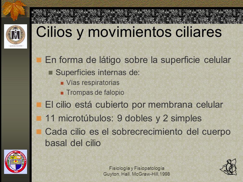 Fisiología y Fisiopatología Guyton, Hall, McGraw-Hill,1998 Cilios y movimientos ciliares En forma de látigo sobre la superficie celular Superficies in
