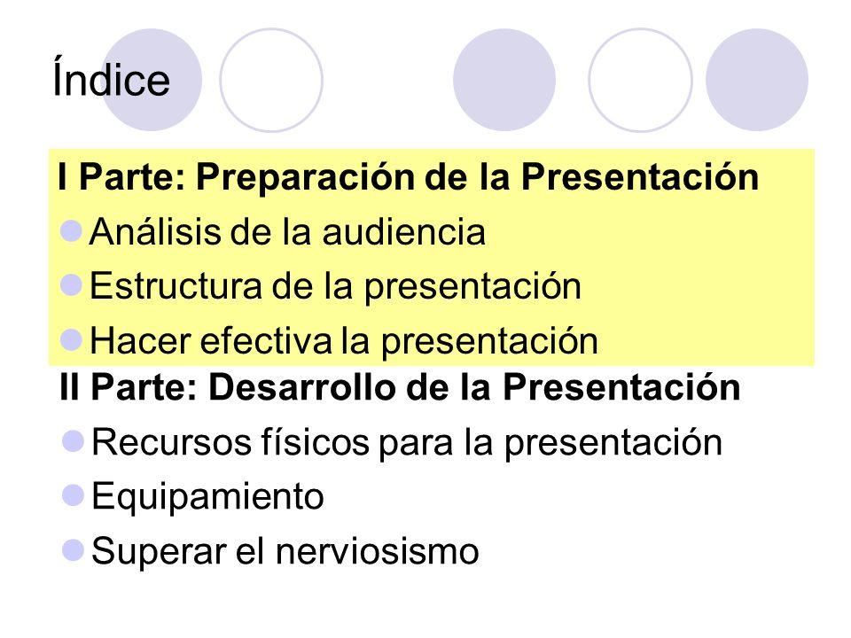 Índice I Parte: Preparación de la Presentación Análisis de la audiencia Estructura de la presentación Hacer efectiva la presentación II Parte: Desarro