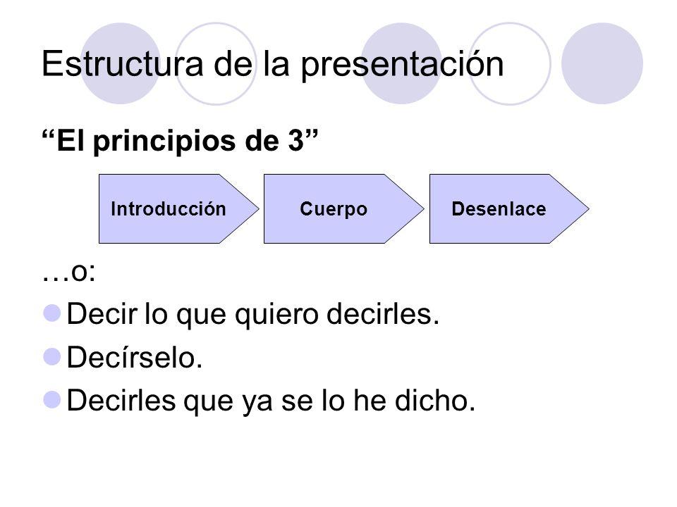 Estructura de la presentación El principios de 3 …o: Decir lo que quiero decirles. Decírselo. Decirles que ya se lo he dicho. IntroducciónCuerpoDesenl