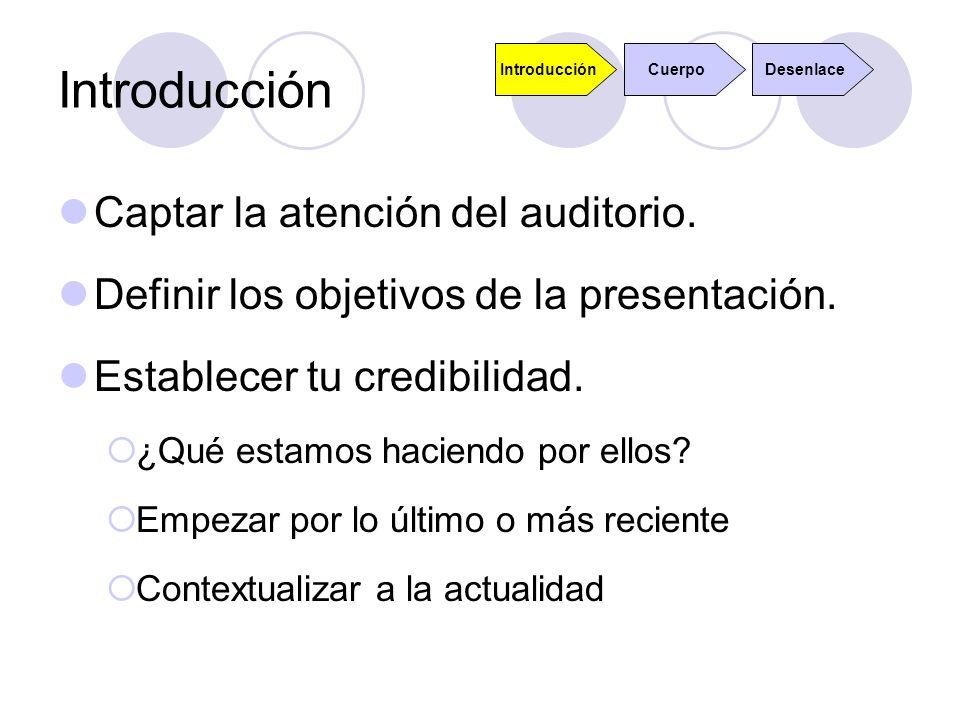 Introducción Captar la atención del auditorio. Definir los objetivos de la presentación. Establecer tu credibilidad. ¿Qué estamos haciendo por ellos?