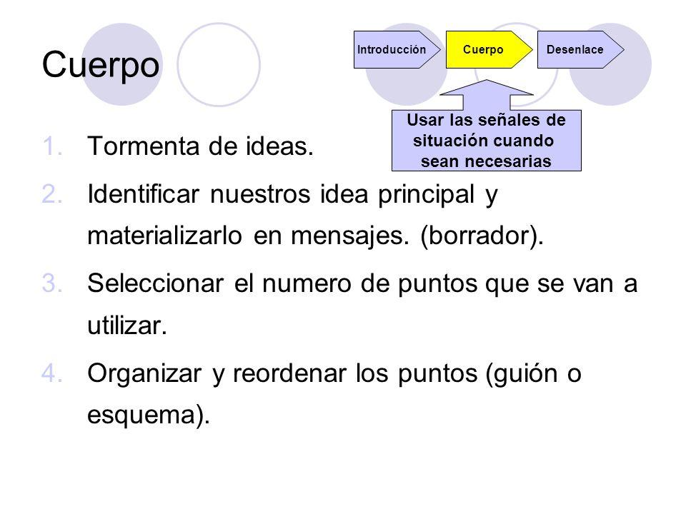 Cuerpo 1.Tormenta de ideas. 2.Identificar nuestros idea principal y materializarlo en mensajes. (borrador). 3.Seleccionar el numero de puntos que se v