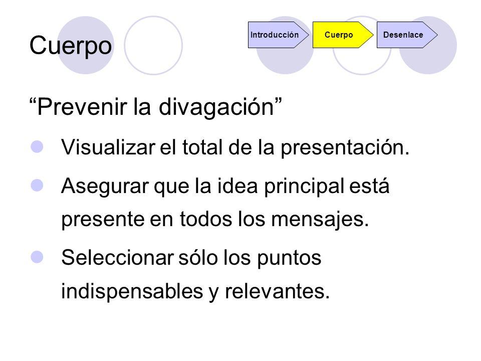 Cuerpo Prevenir la divagación Visualizar el total de la presentación. Asegurar que la idea principal está presente en todos los mensajes. Seleccionar