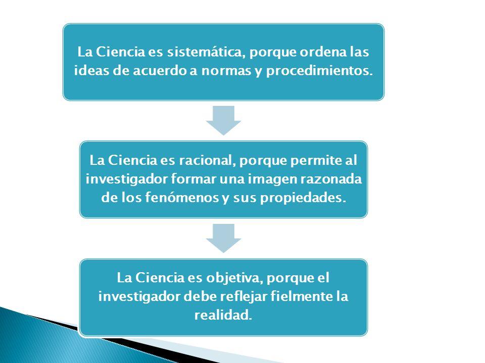 La Ciencia es sistemática, porque ordena las ideas de acuerdo a normas y procedimientos. La Ciencia es racional, porque permite al investigador formar