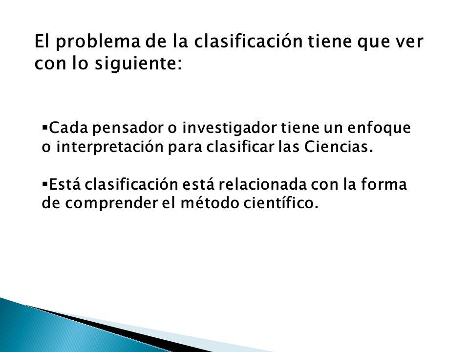 El problema de la clasificación tiene que ver con lo siguiente: Cada pensador o investigador tiene un enfoque o interpretación para clasificar las Cie