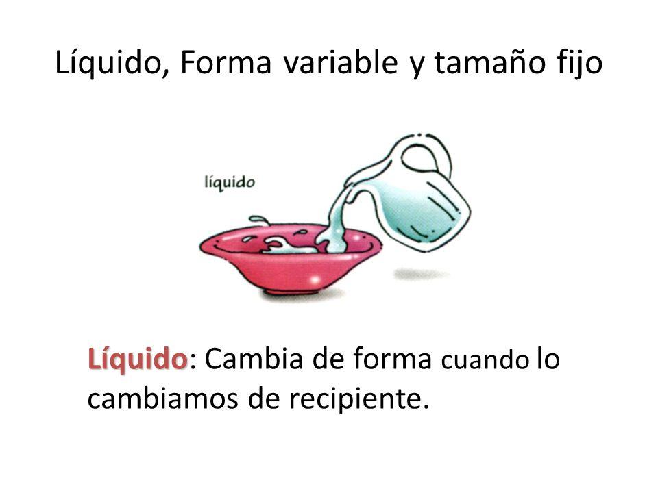 Líquido, Forma variable y tamaño fijo Líquido Líquido: Cambia de forma cuando lo cambiamos de recipiente.