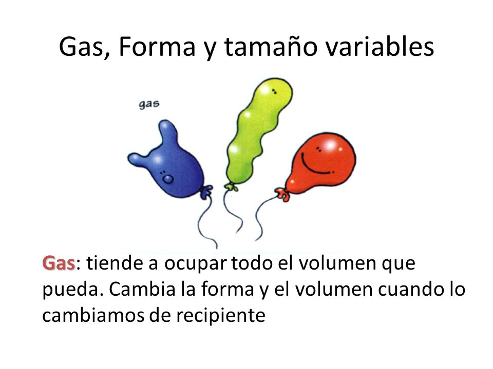 Gas, Forma y tamaño variables Gas Gas: tiende a ocupar todo el volumen que pueda. Cambia la forma y el volumen cuando lo cambiamos de recipiente