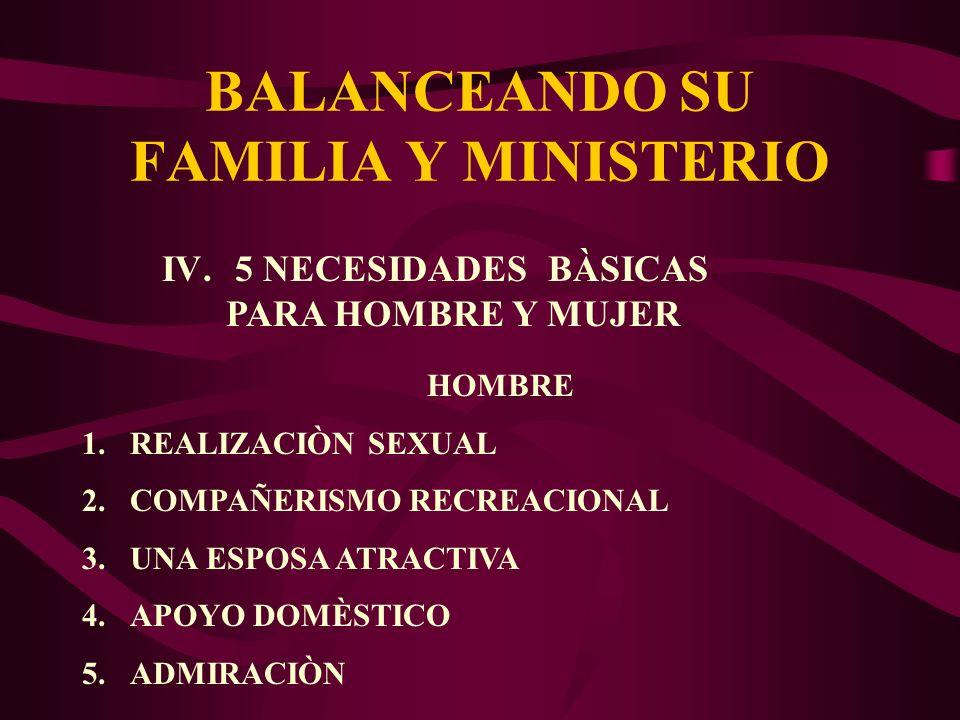 BALANCEANDO SU FAMILIA Y MINISTERIO IV. 5 NECESIDADES BÀSICAS PARA HOMBRE Y MUJER HOMBRE 1.REALIZACIÒN SEXUAL 2.COMPAÑERISMO RECREACIONAL 3.UNA ESPOSA