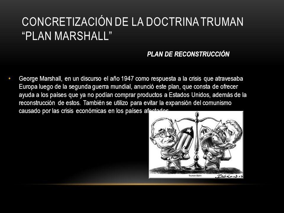 CONCRETIZACIÓN DE LA DOCTRINA TRUMAN PLAN MARSHALL George Marshall, en un discurso el año 1947 como respuesta a la crisis que atravesaba Europa luego