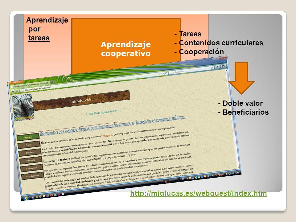 Aprendizaje por tareas Aprendizaje cooperativo http://miglucas.es/webquest/index.htm - Tareas - Contenidos curriculares - Cooperación - Doble valor -