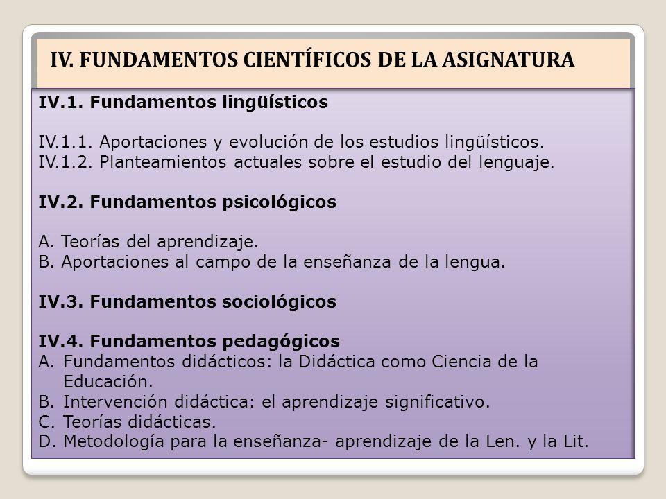 IV. FUNDAMENTOS CIENTÍFICOS DE LA ASIGNATURA IV.1. Fundamentos lingüísticos IV.1.1. Aportaciones y evolución de los estudios lingüísticos. IV.1.2. Pla