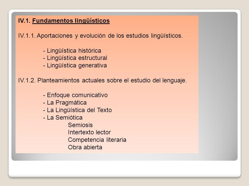 IV.1. Fundamentos lingüísticos IV.1.1. Aportaciones y evolución de los estudios lingüísticos. - Lingüística histórica - Lingüística estructural - Ling