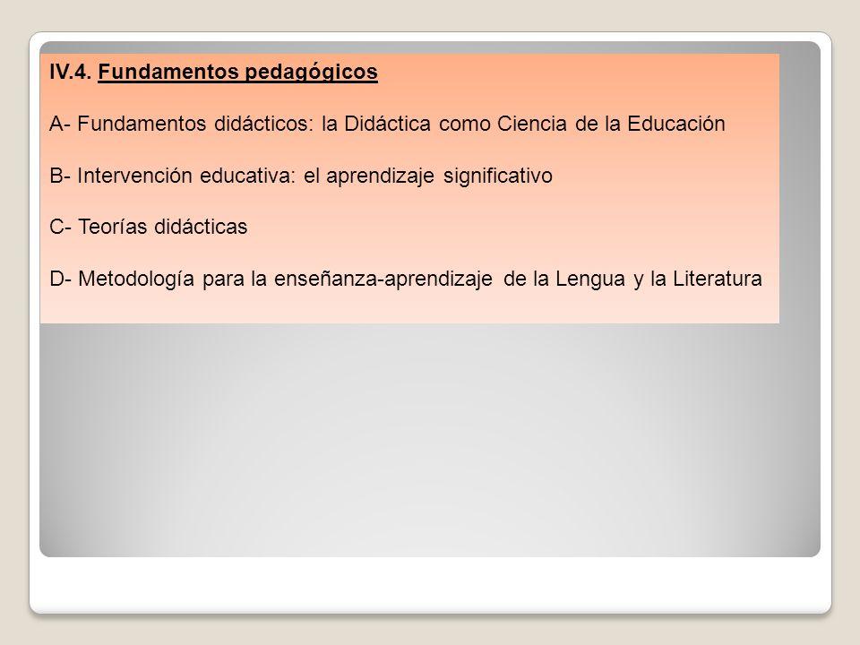 IV.4. Fundamentos pedagógicos A- Fundamentos didácticos: la Didáctica como Ciencia de la Educación B- Intervención educativa: el aprendizaje significa