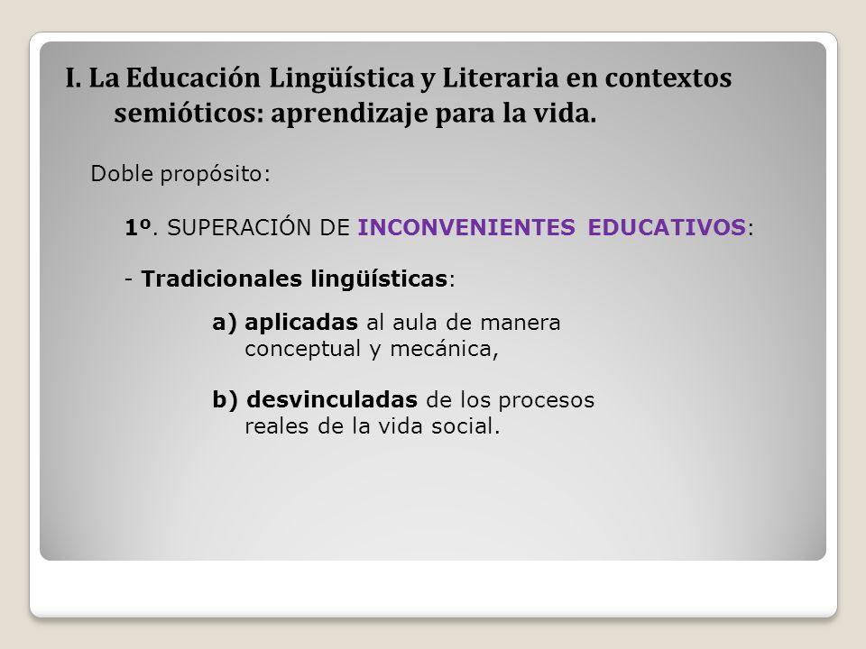 I. La Educación Lingüística y Literaria en contextos semióticos: aprendizaje para la vida. Doble propósito: 1º. SUPERACIÓN DE INCONVENIENTES EDUCATIVO