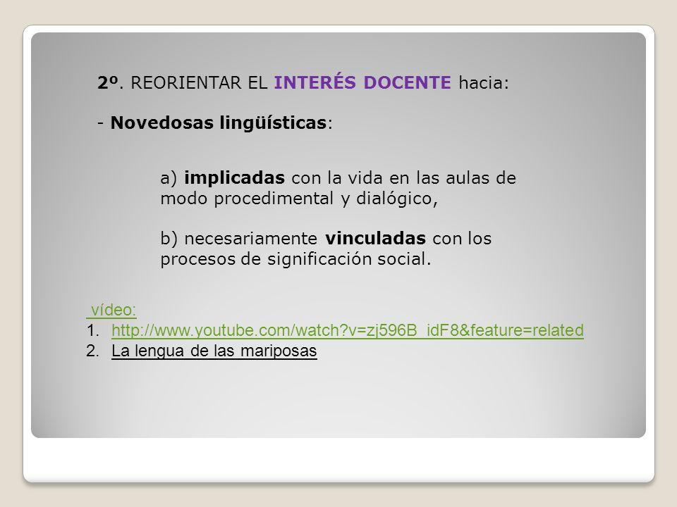 2º. REORIENTAR EL INTERÉS DOCENTE hacia: - Novedosas lingüísticas: a) implicadas con la vida en las aulas de modo procedimental y dialógico, b) necesa