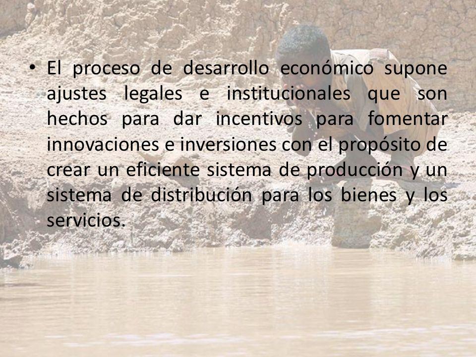 El proceso de desarrollo económico supone ajustes legales e institucionales que son hechos para dar incentivos para fomentar innovaciones e inversione