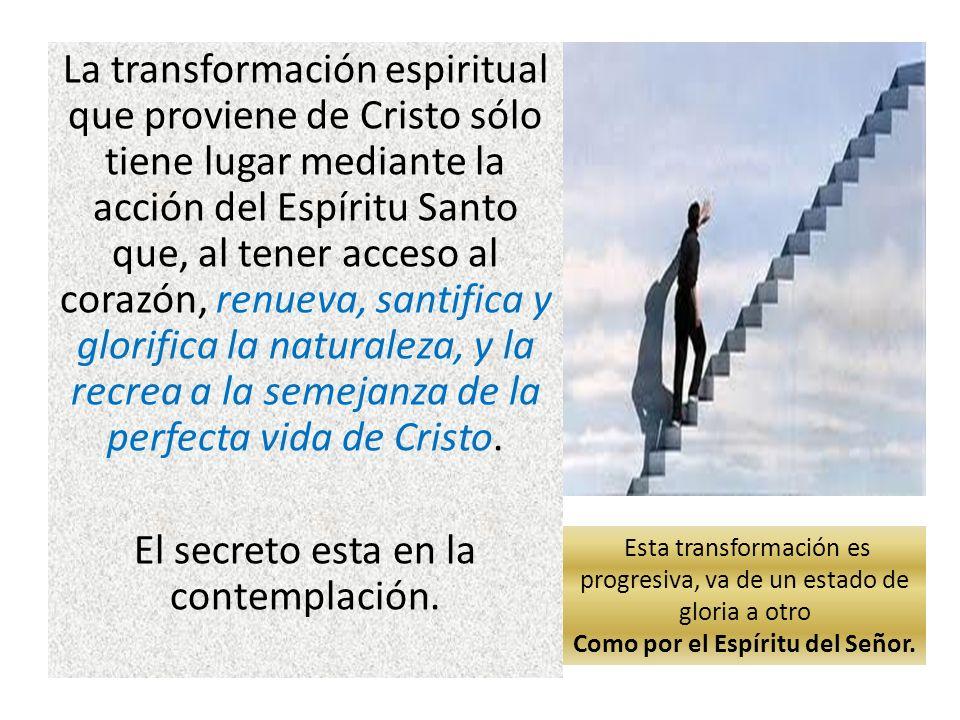 La transformación espiritual que proviene de Cristo sólo tiene lugar mediante la acción del Espíritu Santo que, al tener acceso al corazón, renueva, s