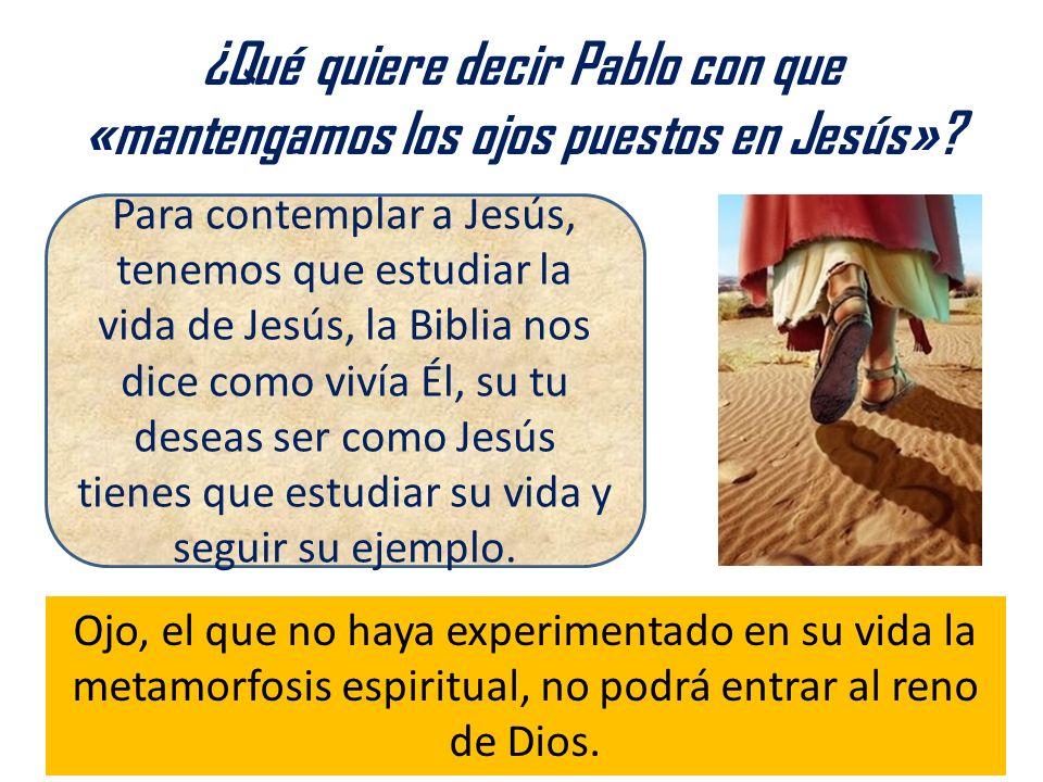 ¿Qué quiere decir Pablo con que «mantengamos los ojos puestos en Jesús»? Ojo, el que no haya experimentado en su vida la metamorfosis espiritual, no p