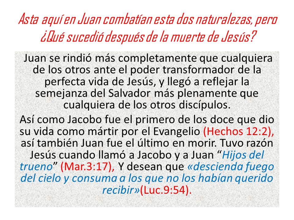 Asta aquí en Juan combatían esta dos naturalezas, pero ¿Qué sucedió después de la muerte de Jesús? Juan se rindió más completamente que cualquiera de
