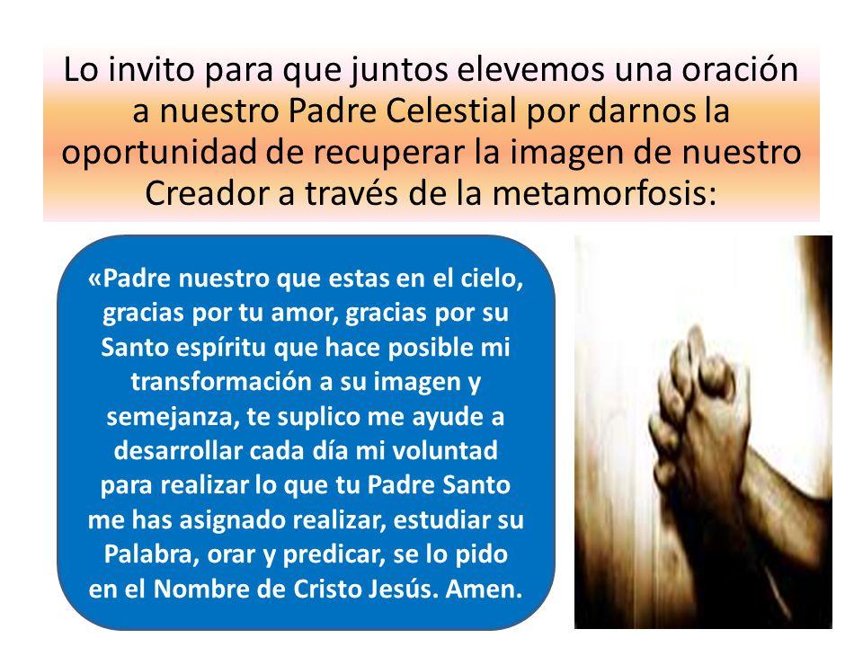 Lo invito para que juntos elevemos una oración a nuestro Padre Celestial por darnos la oportunidad de recuperar la imagen de nuestro Creador a través