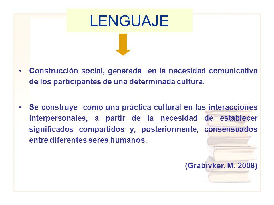 Construcción social, generada en la necesidad comunicativa de los participantes de una determinada cultura. Se construye como una práctica cultural en