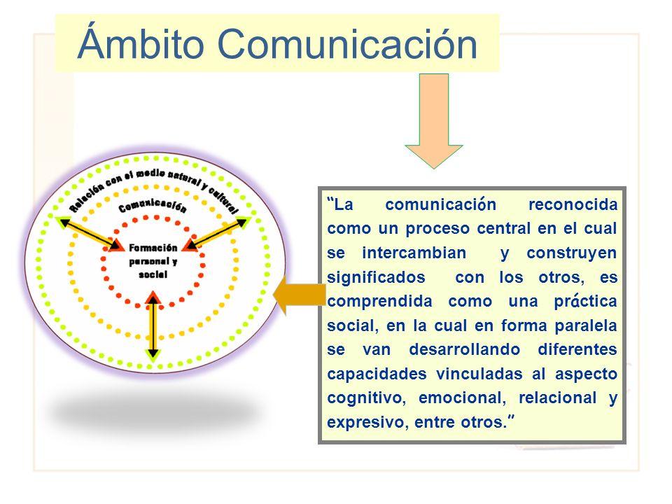Ámbito Comunicación La comunicaci ó n reconocida como un proceso central en el cual se intercambian y construyen significados con los otros, es compre