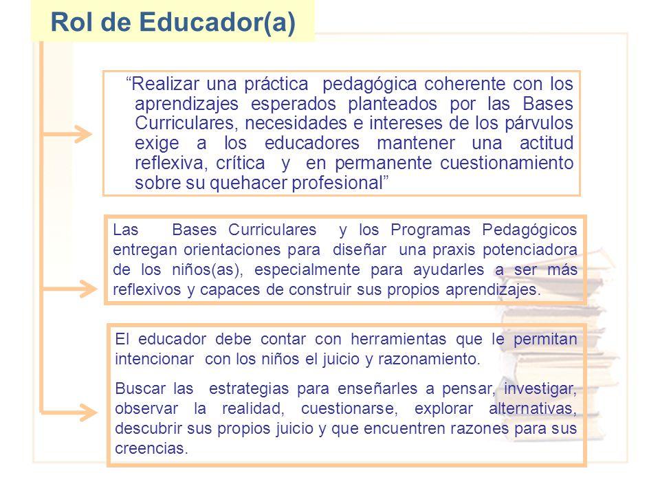 Rol de Educador(a) Realizar una práctica pedagógica coherente con los aprendizajes esperados planteados por las Bases Curriculares, necesidades e inte