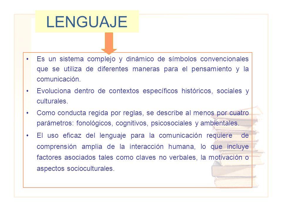 LENGUAJE Es un sistema complejo y dinámico de símbolos convencionales que se utiliza de diferentes maneras para el pensamiento y la comunicación. Evol