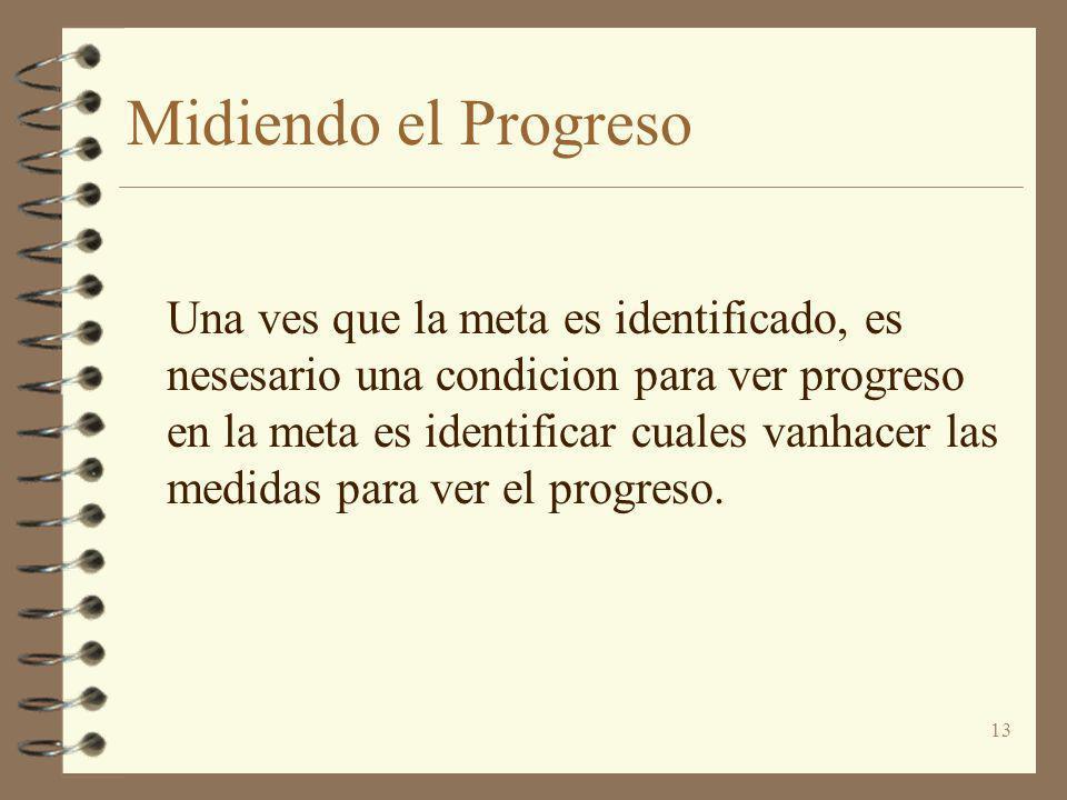 13 Midiendo el Progreso Una ves que la meta es identificado, es nesesario una condicion para ver progreso en la meta es identificar cuales vanhacer la
