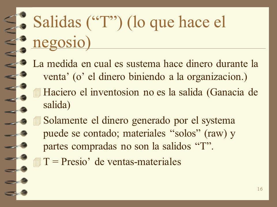 16 Salidas (T) (lo que hace el negosio) La medida en cual es sustema hace dinero durante la venta (o el dinero biniendo a la organizacion.) 4 Haciero