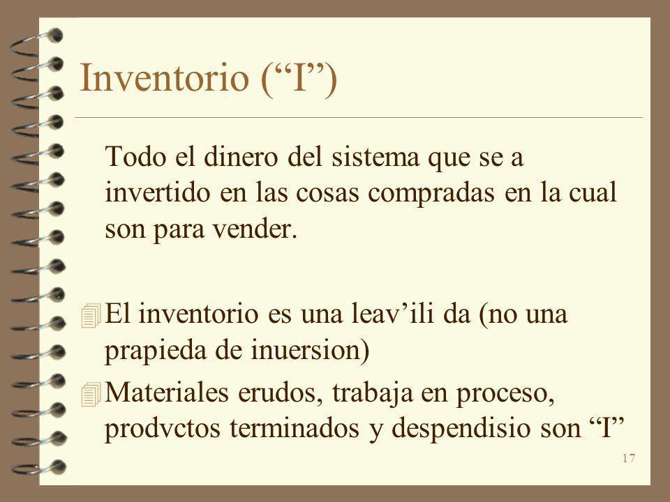 17 Inventorio (I) Todo el dinero del sistema que se a invertido en las cosas compradas en la cual son para vender. 4 El inventorio es una leavili da (
