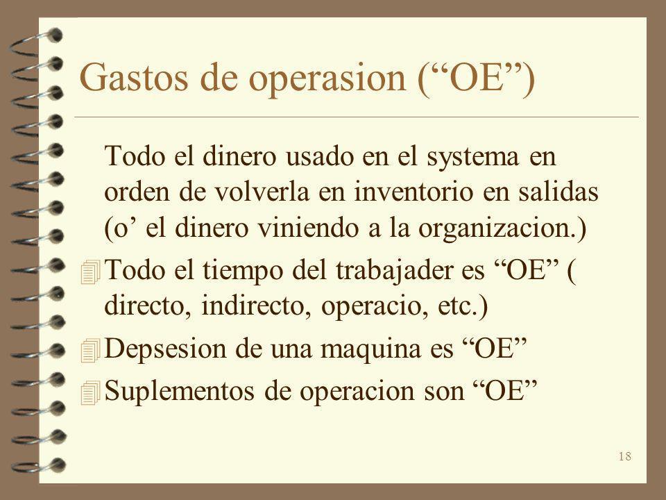 18 Gastos de operasion (OE) Todo el dinero usado en el systema en orden de volverla en inventorio en salidas (o el dinero viniendo a la organizacion.)