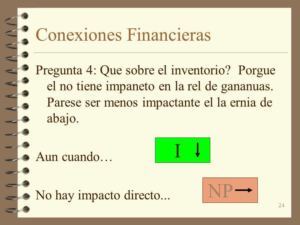 24 Conexiones Financieras Pregunta 4: Que sobre el inventorio? Porgue el no tiene impaneto en la rel de gananuas. Parese ser menos impactante el la er