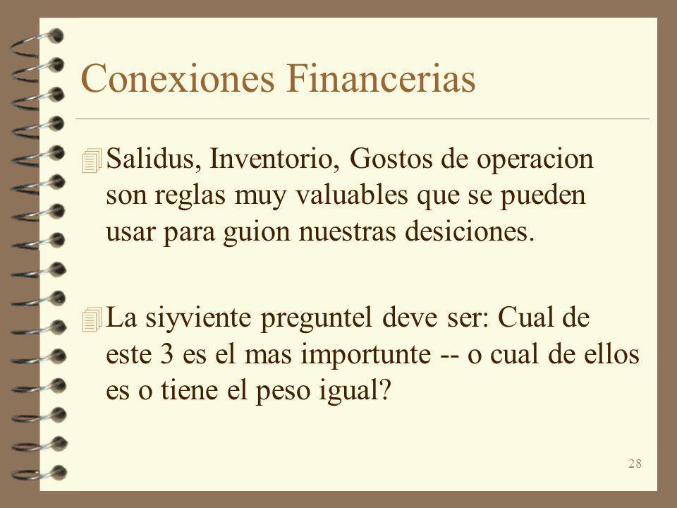 28 Conexiones Financerias 4 Salidus, Inventorio, Gostos de operacion son reglas muy valuables que se pueden usar para guion nuestras desiciones. 4 La