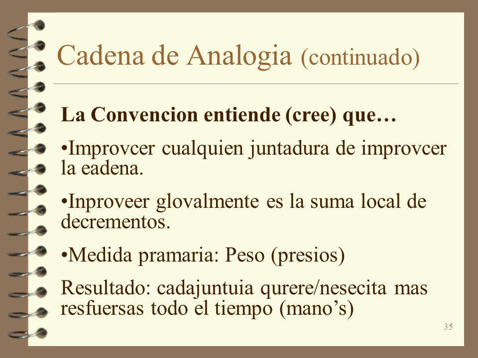 35 Cadena de Analogia (continuado) La Convencion entiende (cree) que… Improvcer cualquien juntadura de improvcer la eadena. Inproveer glovalmente es l