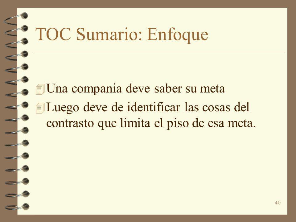 40 TOC Sumario: Enfoque 4 Una compania deve saber su meta 4 Luego deve de identificar las cosas del contrasto que limita el piso de esa meta.
