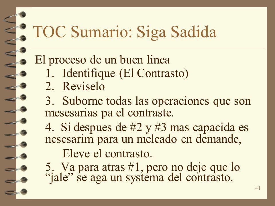 41 TOC Sumario: Siga Sadida El proceso de un buen linea 1.Identifique (El Contrasto) 2.Reviselo 3.Suborne todas las operaciones que son mesesarias pa