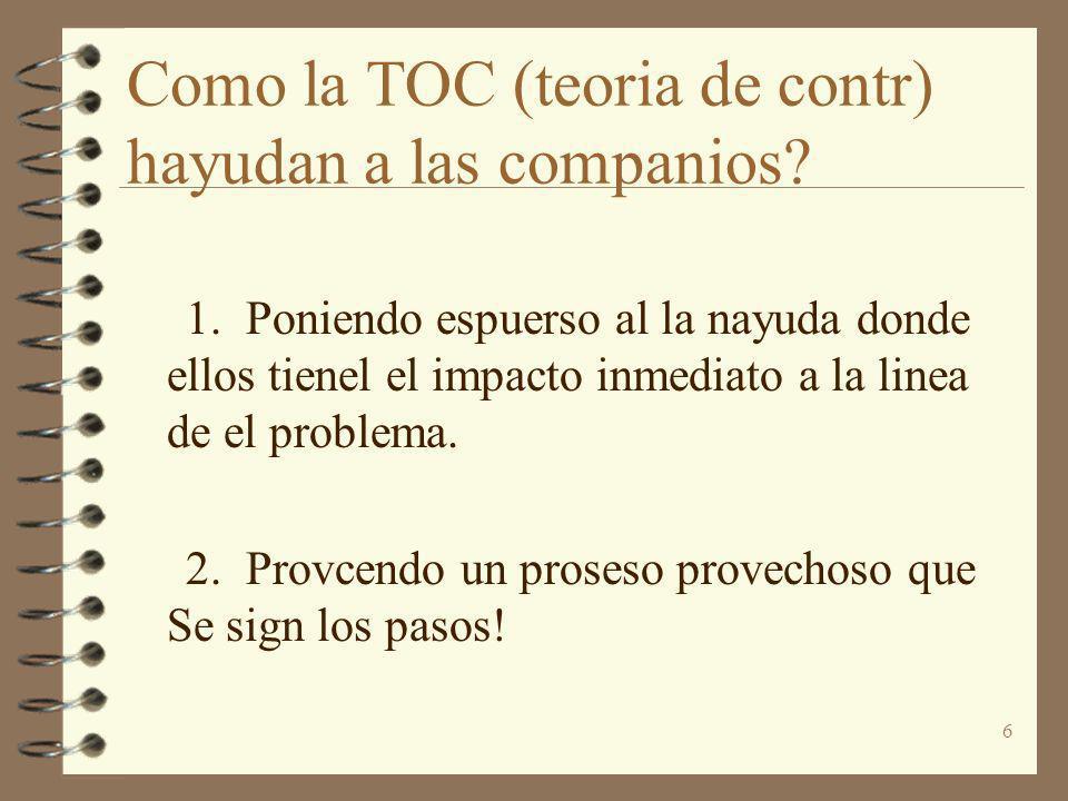 6 Como la TOC (teoria de contr) hayudan a las companios? 1. Poniendo espuerso al la nayuda donde ellos tienel el impacto inmediato a la linea de el pr