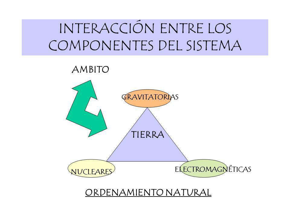 INTERACCIÓN ENTRE LOS COMPONENTES DEL SISTEMA GRAVITATORIAS ELECTROMAGNÉTICAS AMBITO NUCLEARES TIERRA ORDENAMIENTO NATURAL