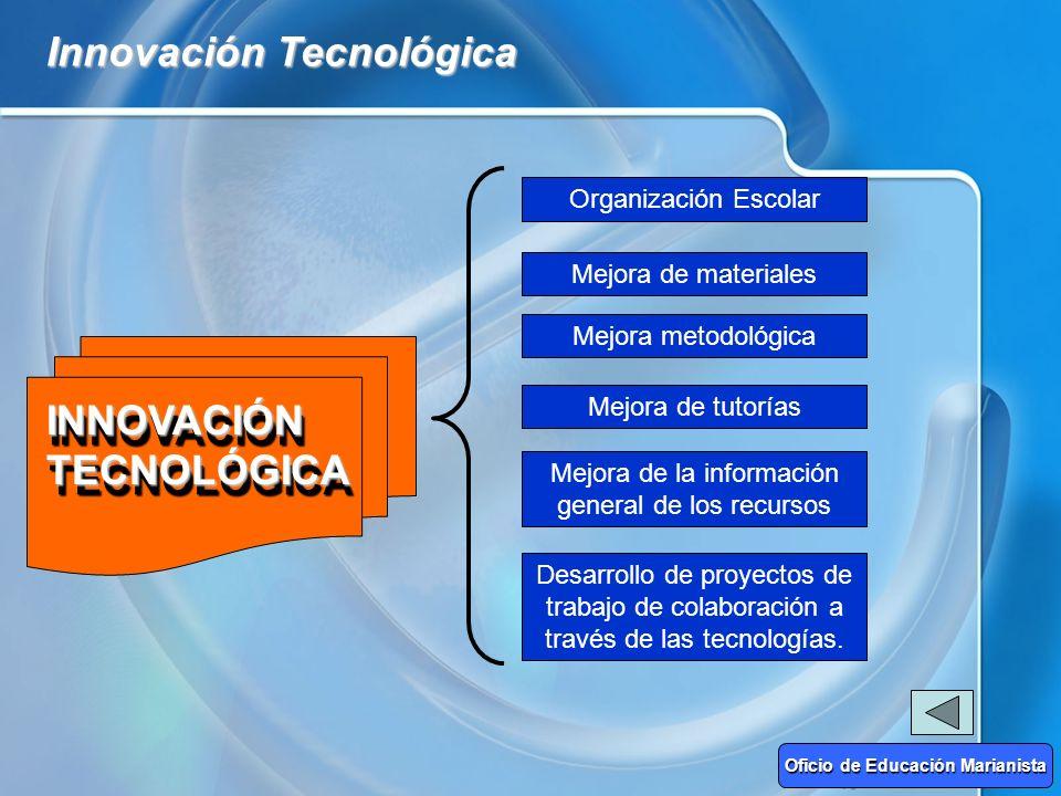 Innovación Tecnológica INNOVACIÓN TECNOLÓGICA Organización Escolar Mejora de materiales Mejora metodológica Mejora de tutorías Mejora de la informació
