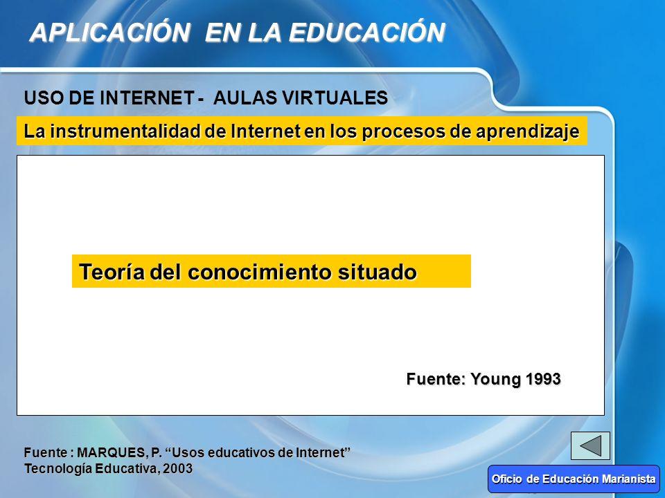APLICACIÓN EN LA EDUCACIÓN USO DE INTERNET - AULAS VIRTUALES La instrumentalidad de Internet en los procesos de aprendizaje CONSTRUCTIVISMO De la inst