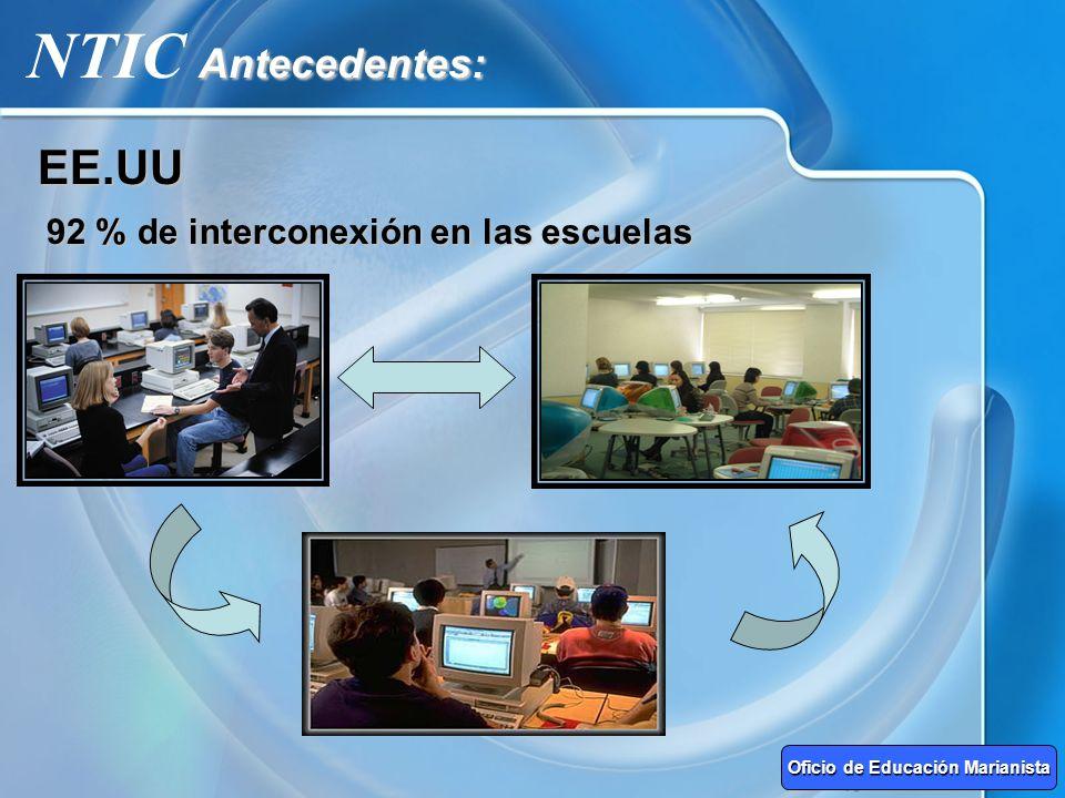 Antecedentes: NTIC Antecedentes:EE.UU 92 % de interconexión en las escuelas Oficio de Educación Marianista