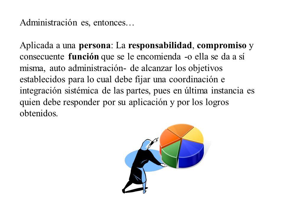 Administración es, entonces… Aplicada a una persona: La responsabilidad, compromiso y consecuente función que se le encomienda -o ella se da a sí mism
