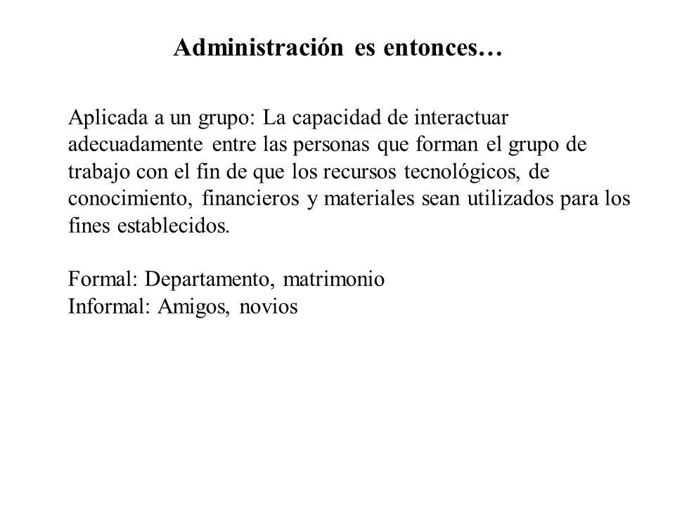 Administración es entonces… Aplicada a un grupo: La capacidad de interactuar adecuadamente entre las personas que forman el grupo de trabajo con el fi