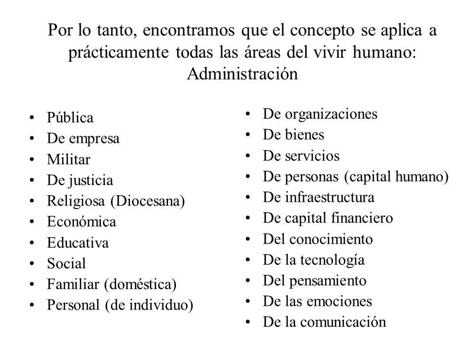 Por lo tanto, encontramos que el concepto se aplica a prácticamente todas las áreas del vivir humano: Administración Pública De empresa Militar De jus