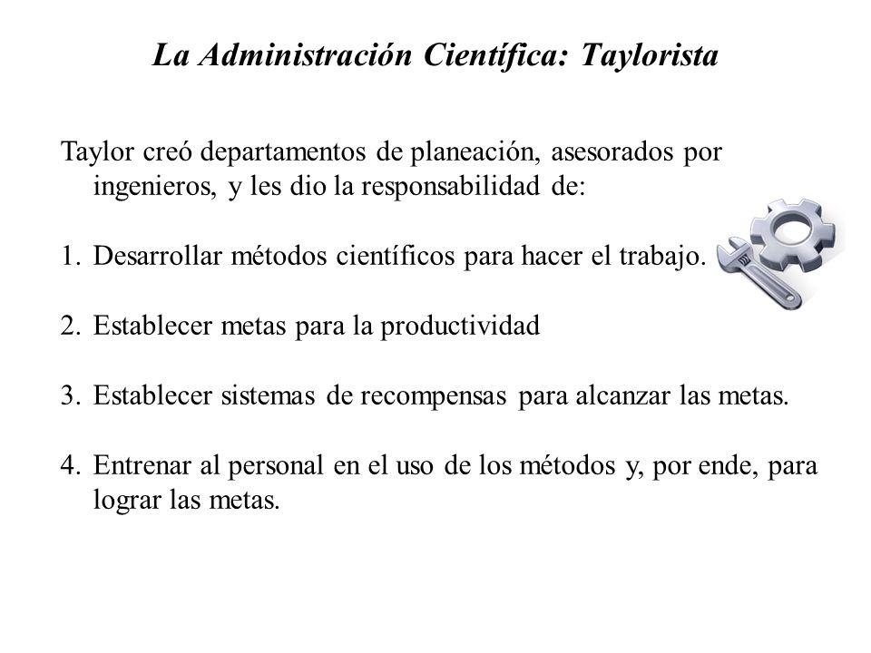 La Administración Científica: Taylorista Taylor creó departamentos de planeación, asesorados por ingenieros, y les dio la responsabilidad de: 1.Desarr