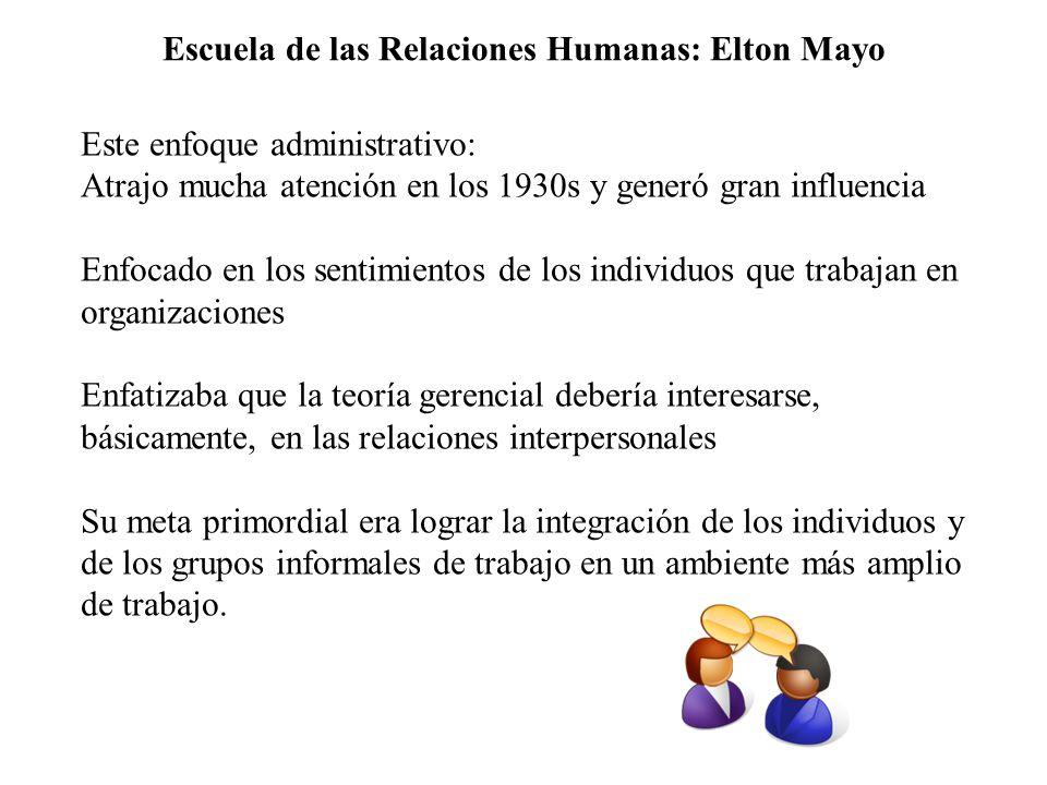 Escuela de las Relaciones Humanas: Elton Mayo Este enfoque administrativo: Atrajo mucha atención en los 1930s y generó gran influencia Enfocado en los