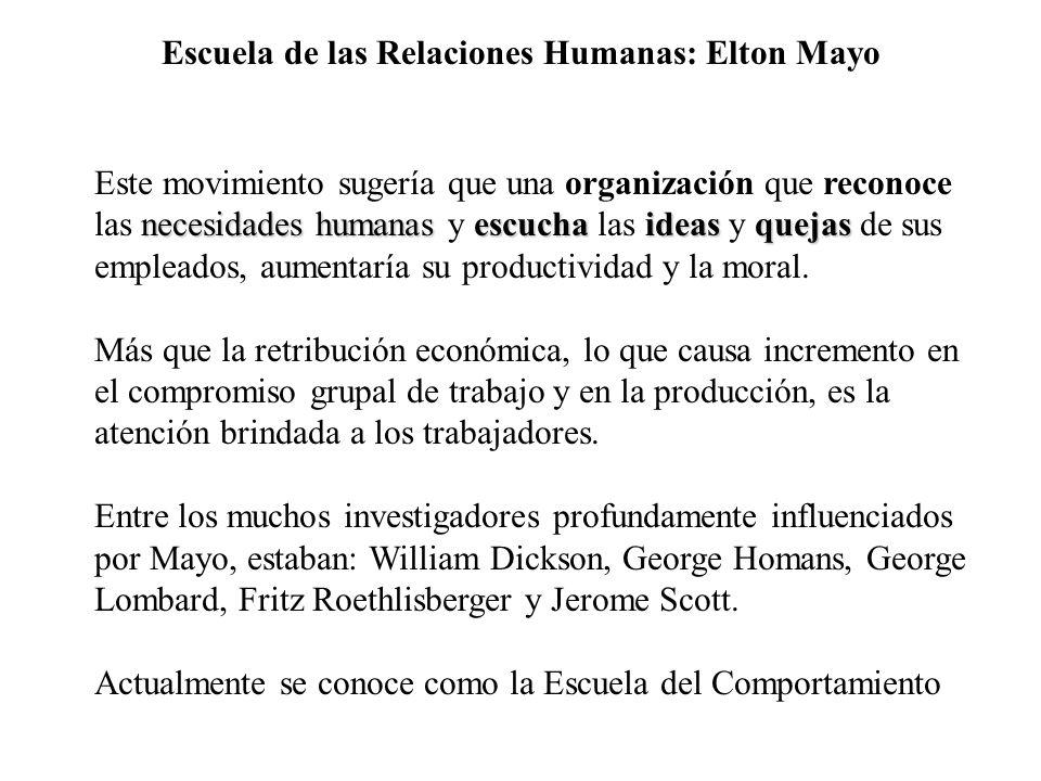 Escuela de las Relaciones Humanas: Elton Mayo necesidades humanasescucha ideasquejas Este movimiento sugería que una organización que reconoce las nec