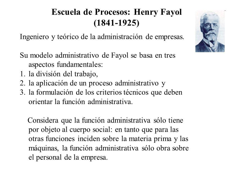 Escuela de Procesos: Henry Fayol (1841-1925) Ingeniero y teórico de la administración de empresas. Su modelo administrativo de Fayol se basa en tres a